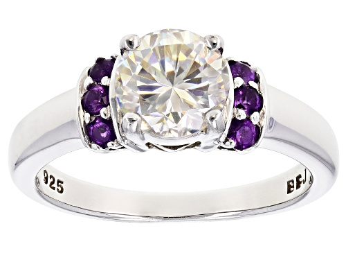 Photo of 1.95CT FABULITE STRONTIUM TITANATE AND .24CTW AFRICAN AMETHYST RHODIUM OVER SILVER RING - Size 11