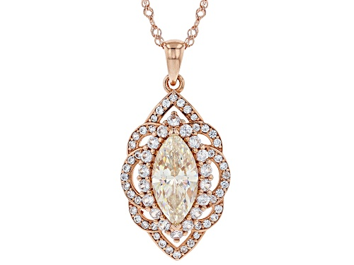 3.48CT FABULITE STRONTIUM TITANATE AND 1.23CTW ZIRCON 18K ROSE GOLD OVER SILVER PENDANT AND CHAIN