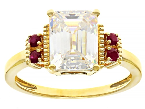 Photo of 3.30CT FABULITE STRONTIUM TITANATE AND .14CTW MAHALEO RUBY 18K YELLOW GOLD OVER SILVER RING - Size 8