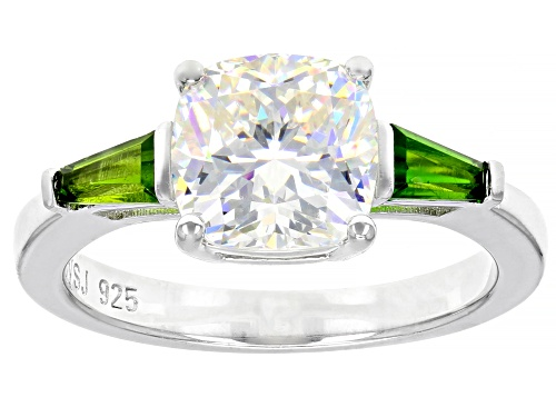 Photo of 3.25CT FABULITE STRONTIUM TITANATE AND .43CTW CHROME DIOPSIDE RHODIUM OVER STERLING SILVER RING - Size 10