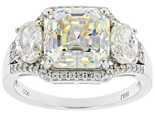 Photo of 5.55CTW ASSCHER CUT AND OVAL FABULITE STRONTIUM TITANATE AND .26CTW ZIRCON RHODIUM OVER SILVER RING - Size 6