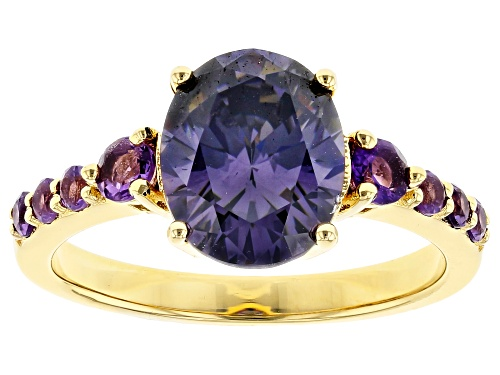 Photo of 3.25CT OVAL FABULITE STRONTIUM TITANATE AND .37CTW AFRICAN AMETHYST 18K YELLOW GOLD OVER SILVER RING - Size 8