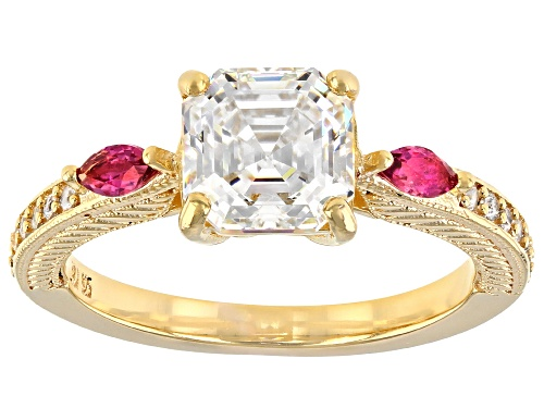 Photo of 2.40CT FABULITE STRONTIUM TITANATE AND LAB BIXBITE WITH ZIRCON 18K YELLOW GOLD OVER SILVER RING - Size 8