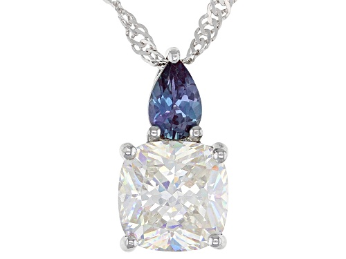Photo of 3.25CT FABULITE STRONTIUM TITANATE AND LAB ALEXANDRITE RHODIUM OVER SILVER PENDANT AND CHAIN