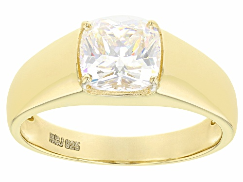 Photo of 3.25CT CUSHION CANDLE LIGHT FABULITE STRONTIUM TITANATE  18K YELLOW GOLD OVER SILVER MENS RING - Size 11