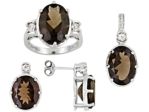 Photo of Brazilian Smoky Quartz 18.90ctw & White Topaz Sterling Silver Ring, Earrings, & Pendant Jewelry Set