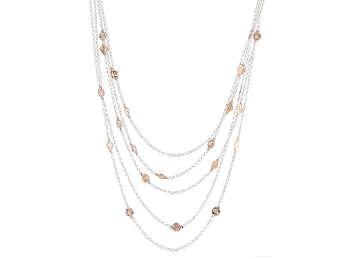 18k Rose Gold Over Silver And Silver Diamond Cut Disc Station Multi Strand Rolo Link Necklace - Size 18