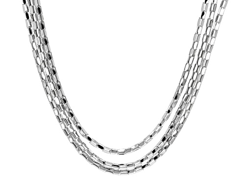 Photo of Rhodium Over Sterling Silver Multi Strand 20 Inch Plus 2 Inch Extender Necklace - Size 20
