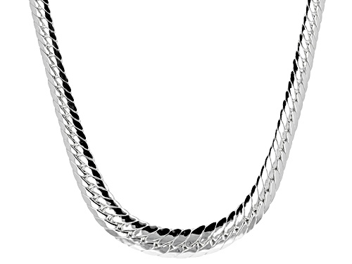 Photo of Sterling Silver Graduated Designer Herringbone Link 18 Inch Necklace - Size 18