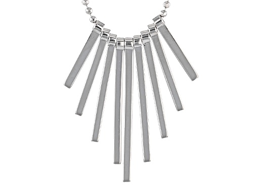 Photo of Rhodium Over Sterling Silver Graduated Bars 18 Inch Plus 2 Inch Extender Necklace - Size 18