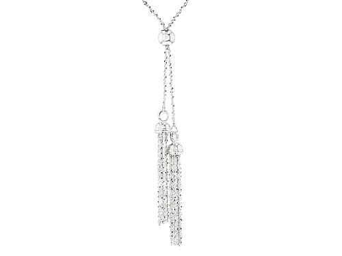 Photo of Sterling Silver Flat Popcorn Link With Tassel Sliding Adjustable 32 Inch Necklace - Size 32