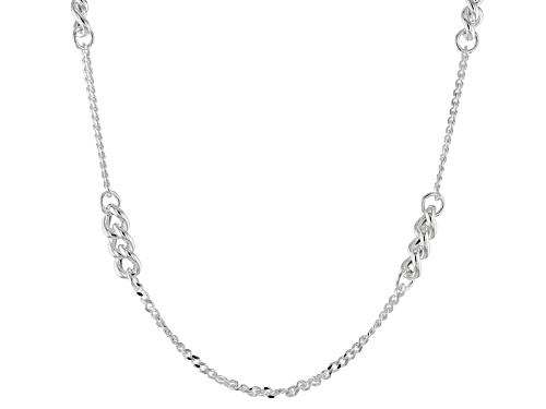 Photo of Sterling Silver Curb Station Link 39 Inch Necklace - Size 39