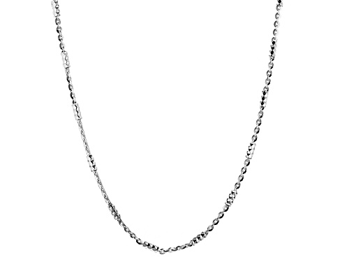 Photo of Sterling Silver Diamond Cut Bead Station Flat Cable Link 18 Inch Necklace - Size 18