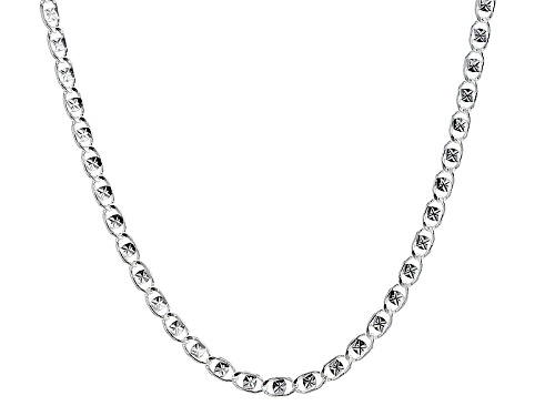 Photo of Sterling Silver Diamond Cut Clover Link 20 Inch Necklace - Size 20