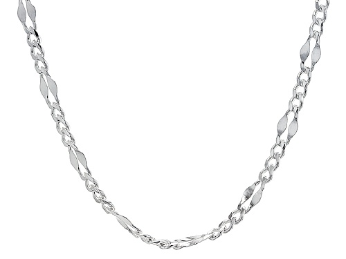 Photo of Sterling Silver Flattened Curb Link Station 20 Inch Necklace - Size 20