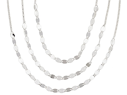 Photo of Sterling Silver Three Row Popcorn & Modified Mirror Cable Link 17 Inch Plus 1 Inch Extender Necklace - Size 17