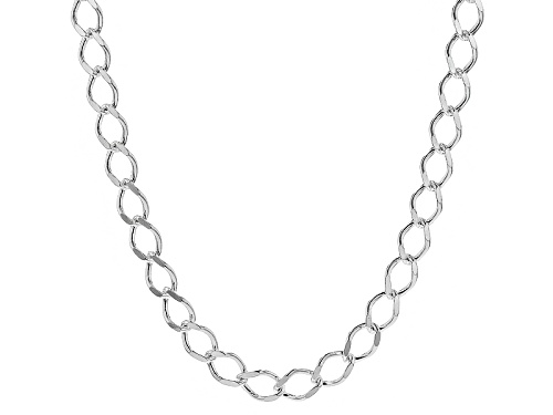 Photo of Sterling Silver .3mm Diamond Cut Marquise Shaped Curb Link 20 Inch Chain Necklace - Size 20