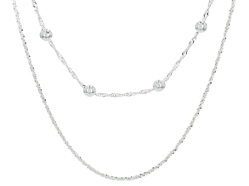 Photo of Sterling Silver Two-Strand Diamond Cut And Singapore Bead Necklace 18 Inch With 2 Inch Extender - Size 18