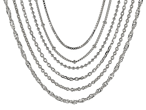 Photo of Sterling Silver Multi-Link 20 Inch Set Of Six Chain Necklaces - Size 20