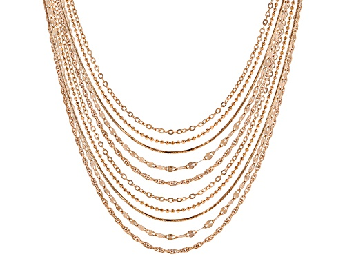 Photo of 18k Rose Gold Over Silver Diamond Cut Flat Curb, Rolo, Rope, Bead, & Snake 18 & 22 Inch Chain Set