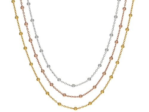 Photo of Sterling Silver & 18k Rose & Yellow Gold Over Silver Diamond Cut Cable Bead Station Chain Set Of 3 - Size 20