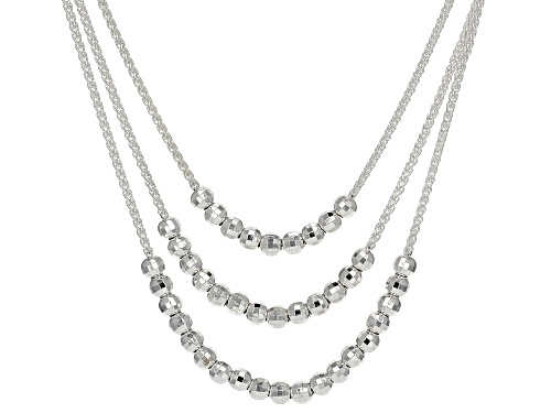 Photo of Sterling Silver Graduated Diamond Cut Bead 20 Inch Necklace - Size 20