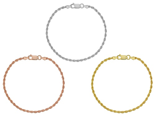 Photo of Rhodium & 18k Yellow & Rose Gold Over Sterling Silver Rope Bracelet 7.5 Inch Set Of Three