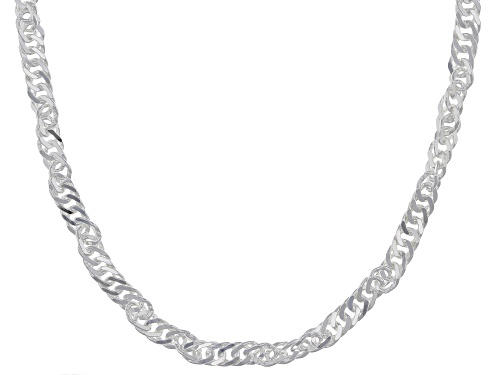 Photo of Rhodium Over Sterling Silver Diamond Cut Singapore Chain Necklace 24 Inch - Size 24