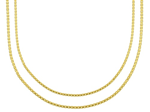 Photo of 18k Yellow Gold Over Sterling Silver Box Chain Necklace 18, And 20 Inch Set Of 2