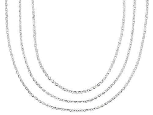 Photo of Sterling silver rolo chain necklace set 18, 20, & 24 inch