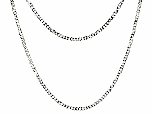 Photo of Sterling Silver Diamond Cut Curb 18 inch and 22 inch Chain Necklace Set of Two