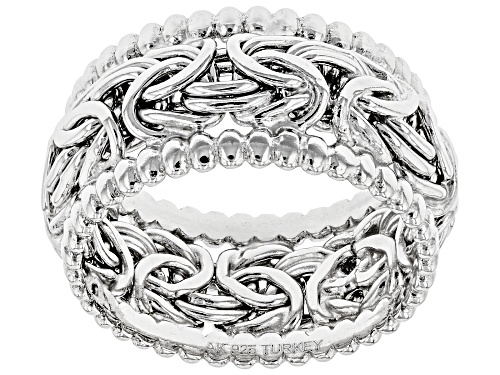 Photo of Sterling Silver Beaded Byzantine Wide Band Ring - Size 8