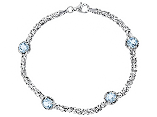 Photo of 4.00ctw Round Blue Topaz Sterling Silver Byzantine Bracelet 8 Inch - Size 8