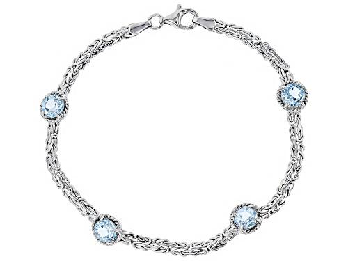 Photo of 4.00ctw Round Blue Topaz Sterling Silver Byzantine Bracelet 8 Inch - Size 8