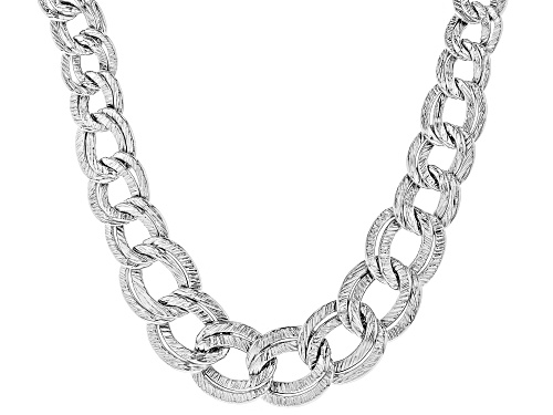 Photo of Sterling Silver Graduated Textured Bold Curb Design Necklace 18 Inch - Size 18