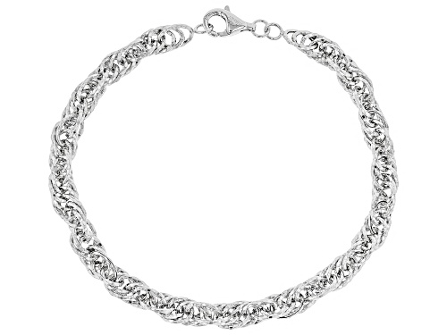 Photo of Sterling Silver Bold Diamond Cut Singapore Chain Bracelet 8 Inch - Size 8