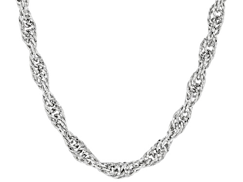 Photo of Sterling Silver Bold Diamond Cut Singapore Chain Necklace 18 Inch - Size 18