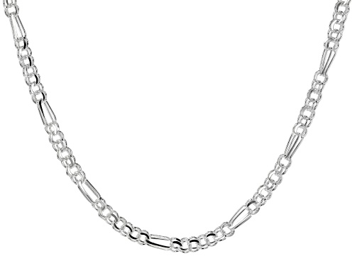 Photo of Sterling Silver 6.5MM Diamond Cut Double Link Chain Necklace 18 Inch - Size 18