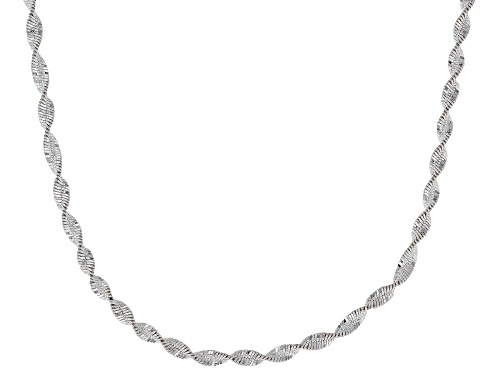 Photo of Sterling Silver 2MM Spiral Herringbone Chain Necklace 18 Inch - Size 18