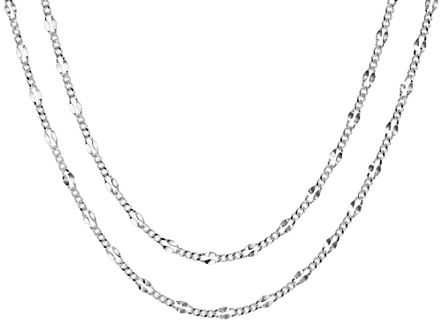 Photo of Sterling Silver Valentino Curb Chain Necklace Set 18 & 20 Inch
