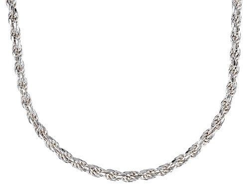 Photo of Sterling Silver 2.5MM Polished Rope Chain Necklace 18 Inch - Size 18