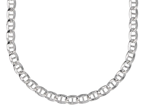 Photo of Sterling Silver 3.8MM Mariner Flat Chain Necklace 20 Inch - Size 20