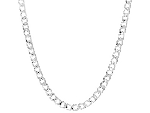 Photo of Sterling Silver 4.4MM Polished Curb Link Chain Necklace 18 Inch - Size 18