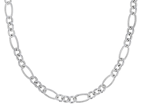 Photo of Sterling Silver Oval Textured Link Chain Necklace 20 Inch - Size 20