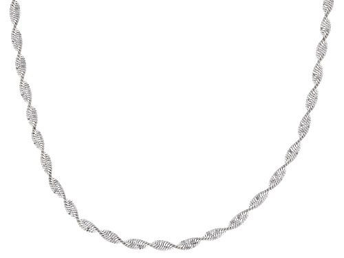 Photo of Sterling Silver 2MM Polished Spiral Herringbone Chain Necklace 18 Inch - Size 18