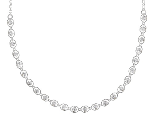 Sterling Silver Bead Necklace 16 Inch With 2 Inch Extender - Size 16