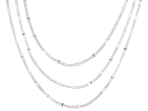 Photo of Sterling Silver Multi-Strand Chain Link Necklace 18 Inch - Size 18