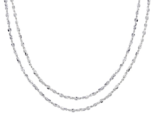 Photo of Sterling Silver Flat Rolo Link Chain Necklace Set 20 & 24 Inch