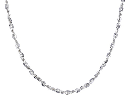 Photo of Sterling Silver 1MM Diamond Cut Twisted Oval Rolo Chain Necklace 20 Inch - Size 20