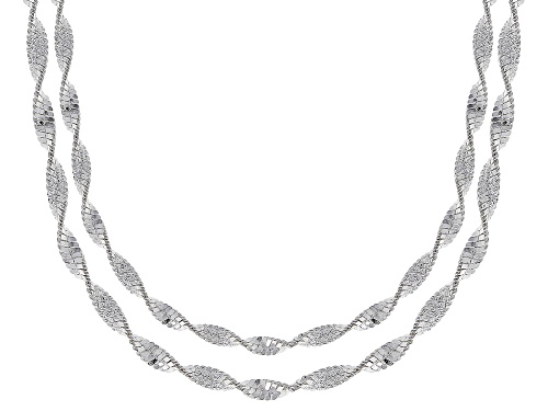 Photo of Sterling Silver Twisted Snake Chain Necklace Set 18 & 20 Inch